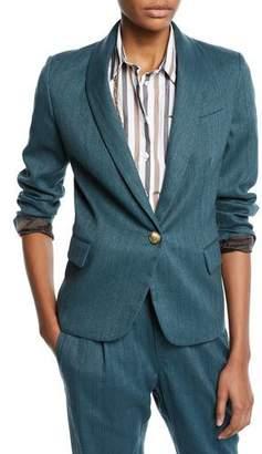 Brunello Cucinelli Monili-Collared Chevron Cotton-Linen Button-Front Blazer