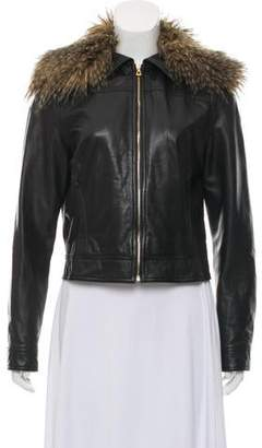 L'Agence Faux-Fur Trimmed Leather Jacket