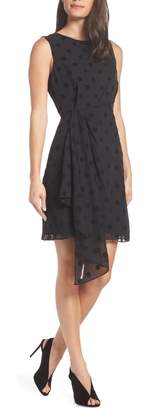 Charles Henry Side Ruched Drape Swiss Dot Dress