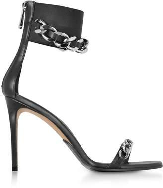 Balmain Black Leather Duo Chain Sandals