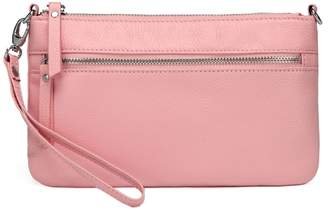 Vicenzo Leather Stacey Distressed Leather Crossbody Bag Clutch