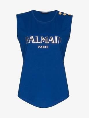 Balmain blue sleeveless logo print cotton t-shirt