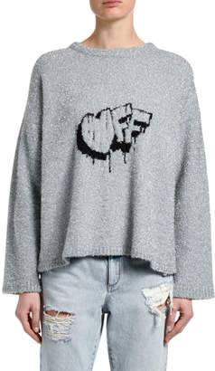 Off-White Off White Fuzzy Logo-Intarsia Crewneck Sweater