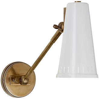 Visual Comfort & Co. Antonio One-Arm Adjustable Sconce - Brass/White