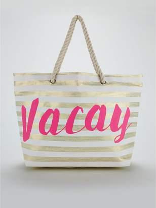 Very Stripe Slogan Beach Bag - Gold