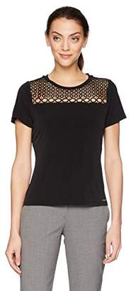 Calvin Klein Women's Short Sleeve Top with Eyelet
