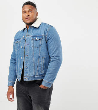 e08a285deac412 New Look Plus borg denim jacket in washed blue