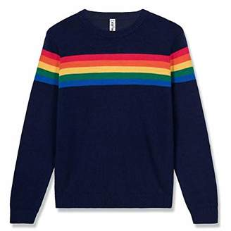 Kid Nation Kids' Sweater Long Sleeve Rainbow Stripe Pullover Round Neck Cotton Knit for Boys and Girls School Uniform Size XL