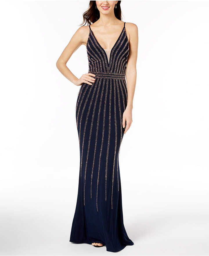 Xscape Evenings Beaded V-Neck Gown, Regular & Petite Sizes ...