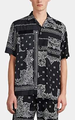 Sacai Men's Bandanna-Print Camp-Collar Shirt - Black
