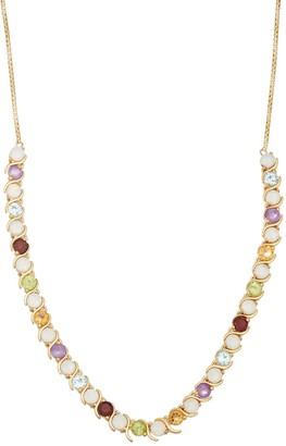 18k Gold Over Silver Gemstone Statement Necklace