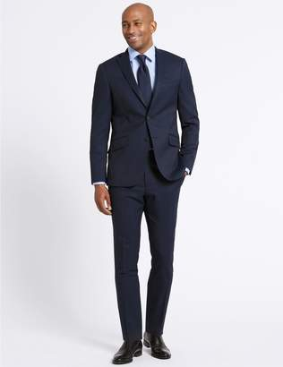 Marks and Spencer Navy Striped Slim Fit Wool Jacket