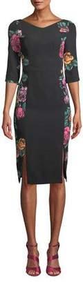 Black Halo Double-Slit Prism Floral-Print Dress