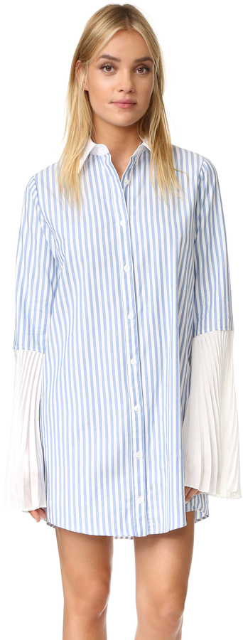 Clu Clu Striped Button Down Shirtdress