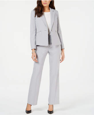Le Suit One-Button Zipper-Pocket Pantsuit