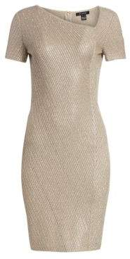 St. John Women's Brielle Knit Asymmetric Neck Sequin Dress - Dark Khaki Gold - Size 2