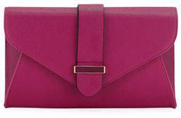 Neiman Marcus Reva Faux Saffiano Leather Envelope Clutch Bag