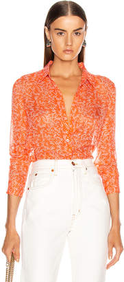 Equipment Essential Top in Hot Coral & Bright White | FWRD