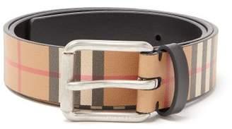 Burberry Vintage Check Leather Belt - Mens - Black