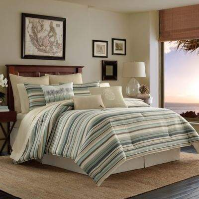 Canvas Stripe Reversible California King Comforter Set in Medium Green