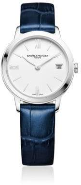 Baume & Mercier Classima 10353 Stainless Steel and Alligater-Embossed Leather Strap Watch