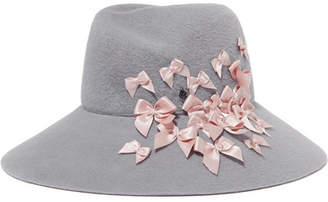 Maison Michel Roe Bow-embellished Rabbit-felt Hat - Gray