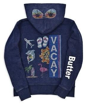 Butter Shoes Girls' Embellished Fleece Vacay Hoodie - Little Kid, Big Kid