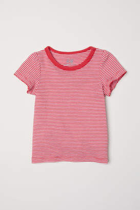 H&M Puff-sleeved Jersey Top - Red