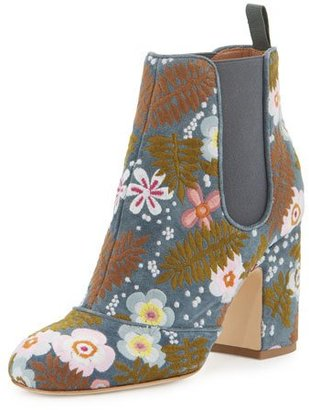 Laurence Dacade Mia Boheme Embroidered 85mm Chelsea Boot, Blue $1,150 thestylecure.com