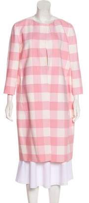 Oscar de la Renta Virgin Wool Gingham Coat w/ Tags