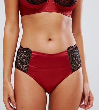 Wolfwhistle Wolf & Whistle Red and Black Lace High Waist Brief