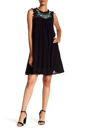HAILEY LYN Sleeveless Embroidered Pompom Dress