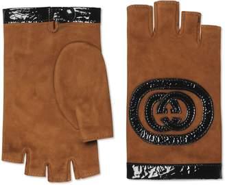 Gucci Logo Suede Fingerless Gloves