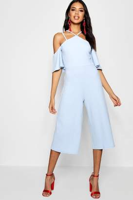 boohoo Open Shoulder Culotte Jumpsuit