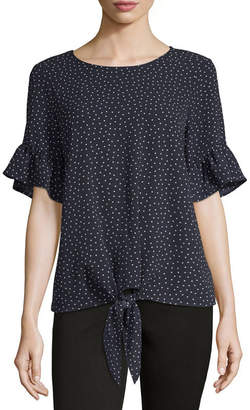 Co LIZ AND Liz And Womens Crew Neck Short Sleeve Woven Blouse