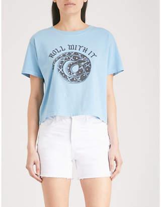 The Kooples Snake-print cotton-jersey T-shirt