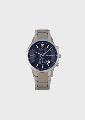 Emporio Armani Stainless Steel Chronograph With Three-Chain Strap