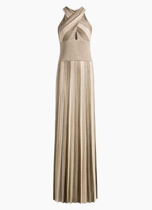 St. John Metallic Plisse Jacquard Knit Gown