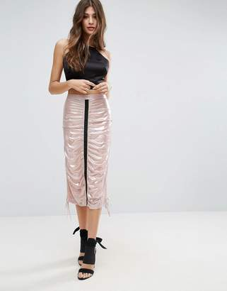 Chanel Asos Design ASOS metallic midi skirt with channel detail