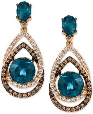 LeVian Le Vian Chocolatier London Blue Topaz (7-3/4 ct. t.w.) and Diamond (1-1/3 ct. t.w.) Interlocking Teardrop Drop Earrings in 14k Rose Gold, Created for Macy's