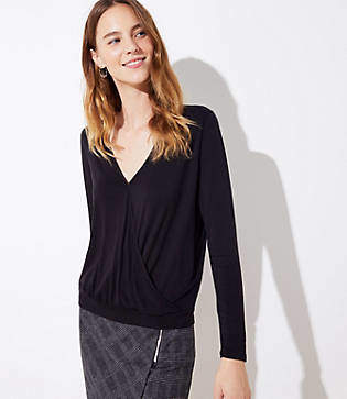 LOFT Wrap Long Sleeve Tee