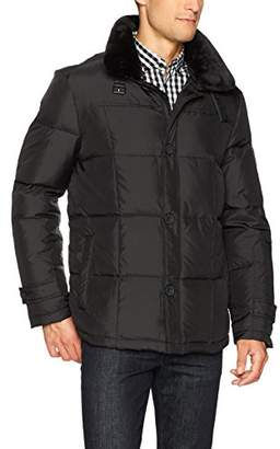 Kenneth Cole New York Men's 3/4 Down Jacket With Faux Fur Collar