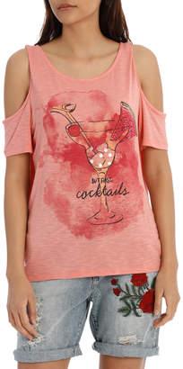Only Dina Short Sleeve Cocktail Pina Top