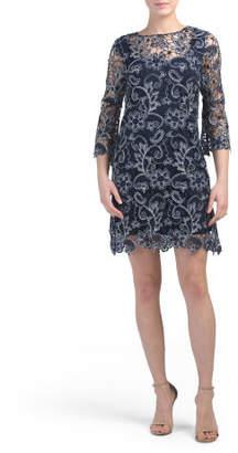 Petite Three-quarter Sleeve Metallic Lace Dress