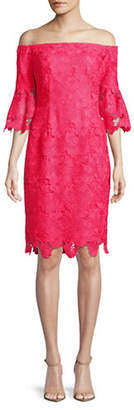 Vince Camuto Off-The-Shoulder Lace Bell-Sleeve Dress
