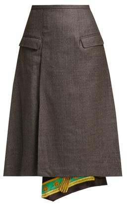 Toga Scarf Lined Wool Skirt - Womens - Grey