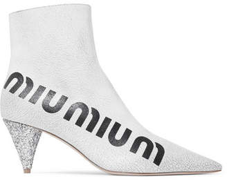 Miu Miu Logo-print Glossed Cracked-leather Ankle Boots - White