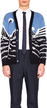 Thom Browne Surfing Scenery Cardigan $825 thestylecure.com