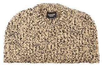 Calvin Klein Knitted Melange Wool Blend Shawl - Womens - Brown