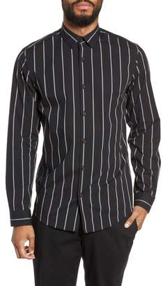 Calibrate Slim Fit Mini Collar Stripe Sport Shirt